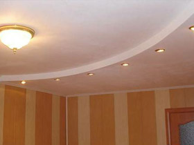 потолок из двухуровневый из гипсокартона фото