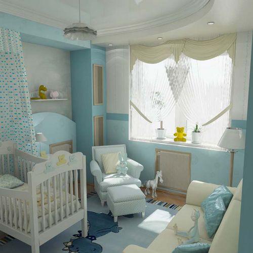 Голубые обои в интерьере: какие подобрать шторы, потолок под бело-голубые стены, видео и фото