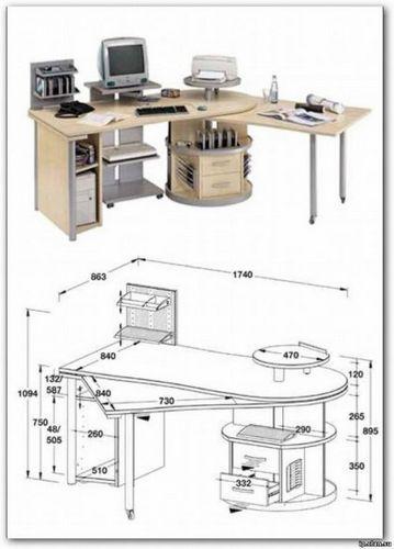 Компьютерные столы своими руками — чертежи и схемы
