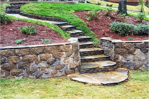 Подпорные стенки со ступенями из камня своими руками