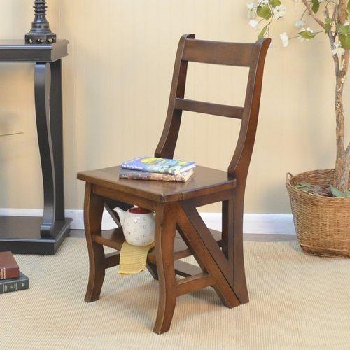 Стул-стремянка: деревянная лестница и складной алюминиевый стульчик-трансформер и табурет из финляндии